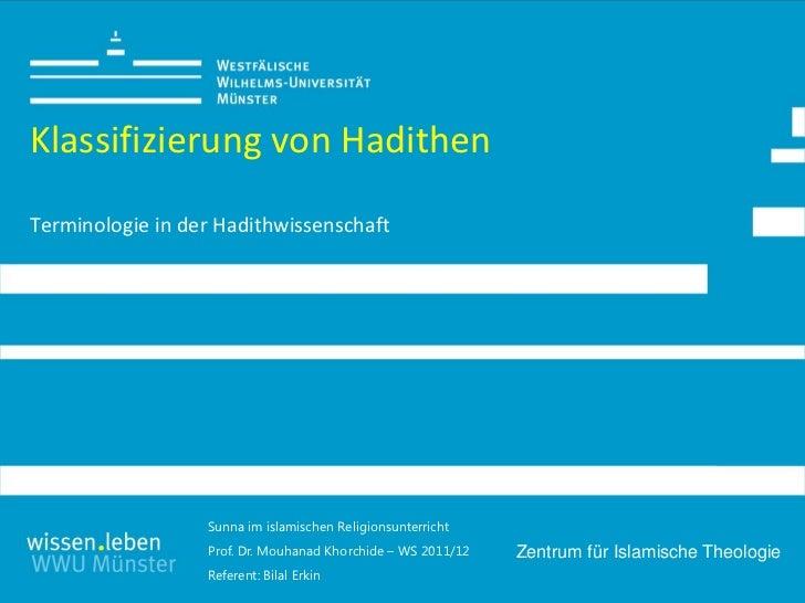 Klassifizierung von HadithenTerminologie in der Hadithwissenschaft                  Sunna im islamischen Religionsunterric...