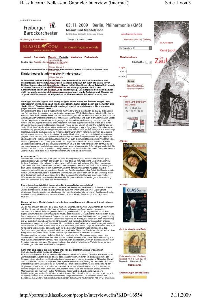 klassik.com : Nellessen, Gabriele: Interview (Interpret)                                                                  ...