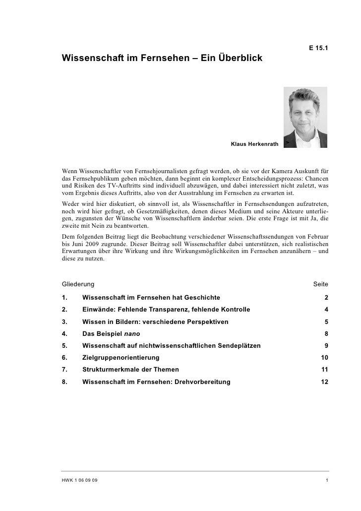 E 15.1 Wissenschaft im Fernsehen – Ein Überblick                                                                   Klaus H...
