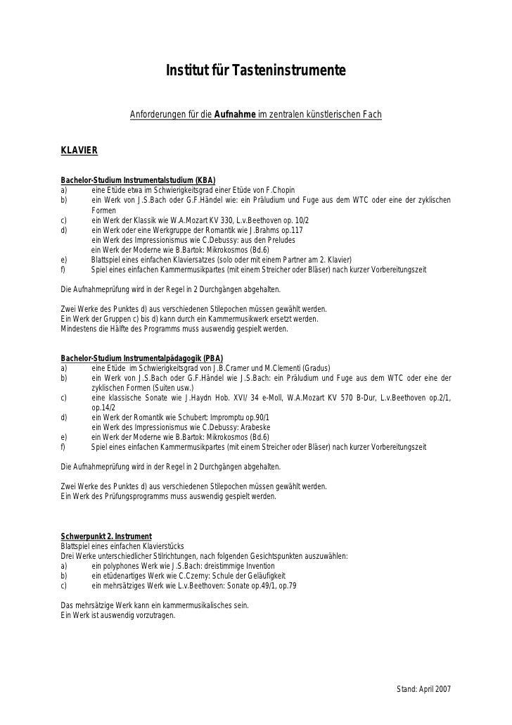 Institut für Tasteninstrumente                       Anforderungen für die Aufnahme im zentralen künstlerischen Fach   KLA...