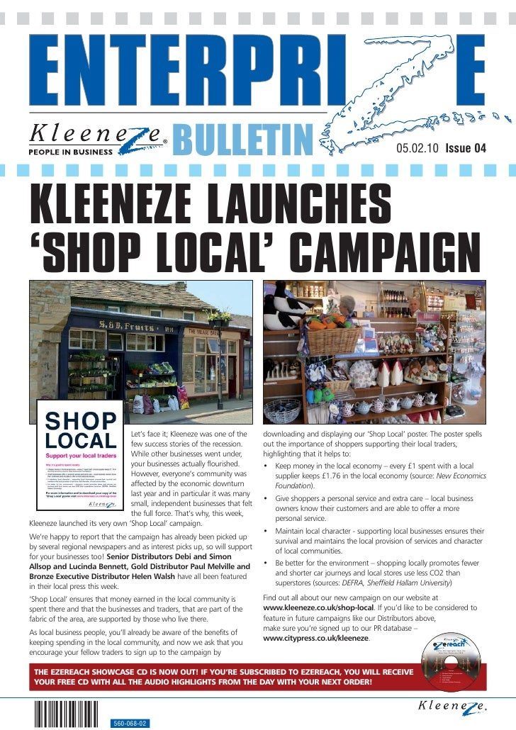 BULLETIN                                                               05.02.10 Issue 04     KLEENEZE LAUNCHES 'SHOP LOCAL...