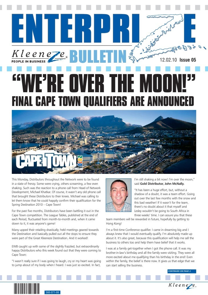 """BULLETIN                                                                  12.02.10 Issue 05     """"WE'RE OVER THE MOON!"""" FIN..."""