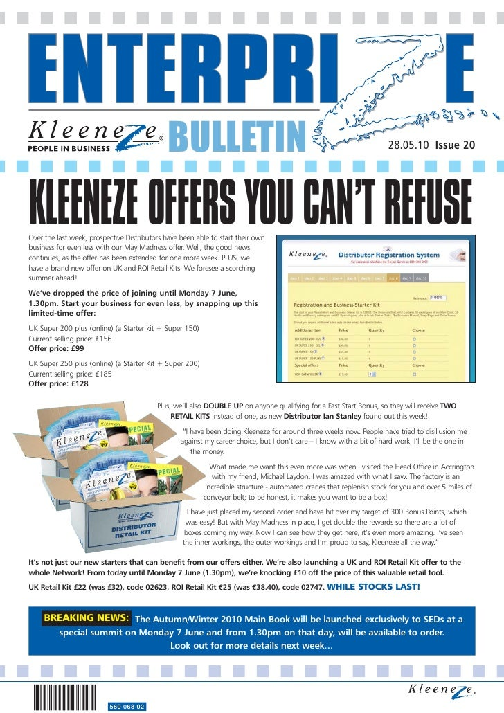 BULLETIN                                                                28.05.10 Issue 20     KLEENEZE OFFERS YOU CAN'T RE...