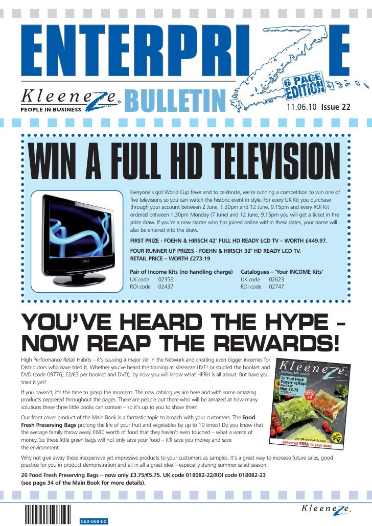 BULLETIN                                                               11.06.10 Issue 22        WIN A FULL HD TELEVISION  ...