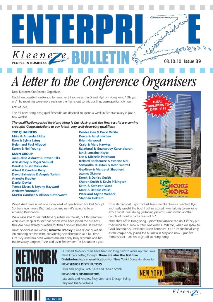 BULLETIN                                                                  08.10.10 Issue 39A letter to the Conference Orga...
