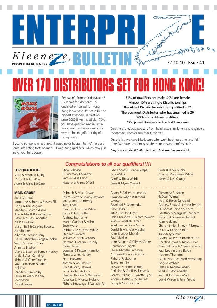 BULLETIN                                                                 22.10.10 Issue 41OVER 170 DISTRIBUTORS SET FOR HO...