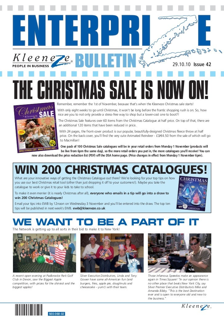 BULLETIN                                                                29.10.10 Issue 42THE CHRISTMAS SALE IS NOW ON!    ...
