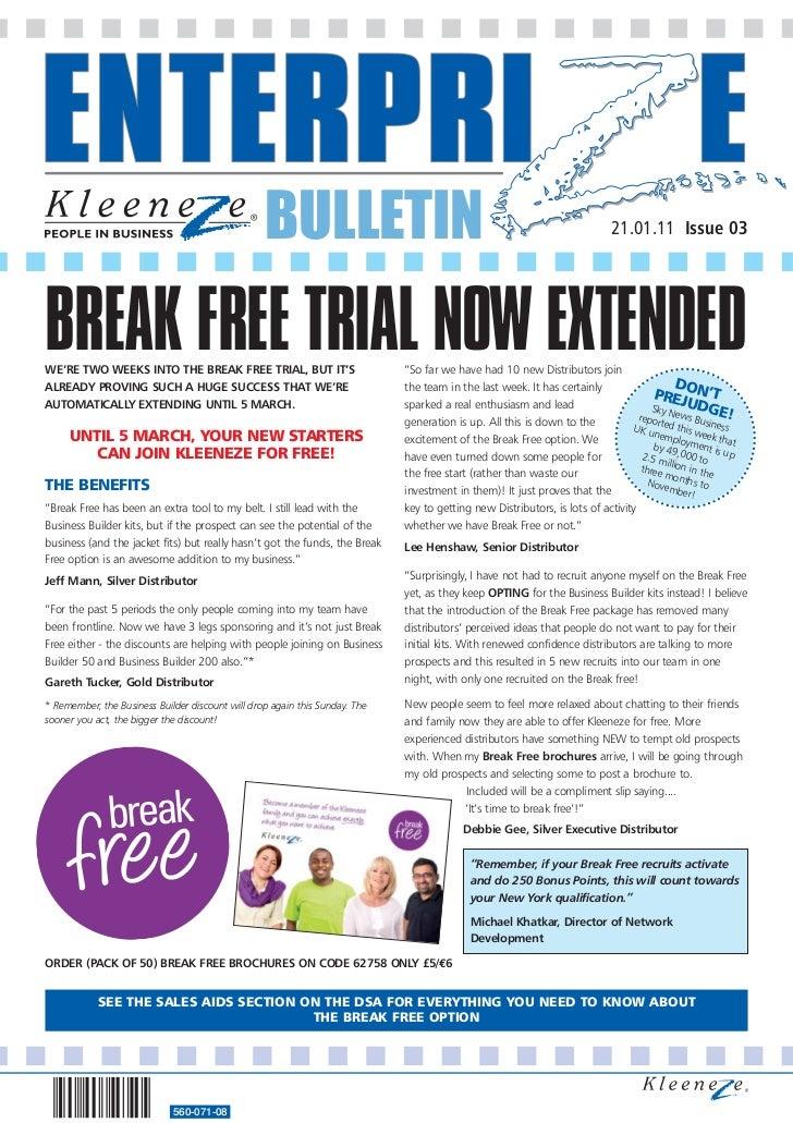 BULLETIN                                                                   21.01.11 Issue 03BREAK FREE TRIAL NOW EXTENDEDW...