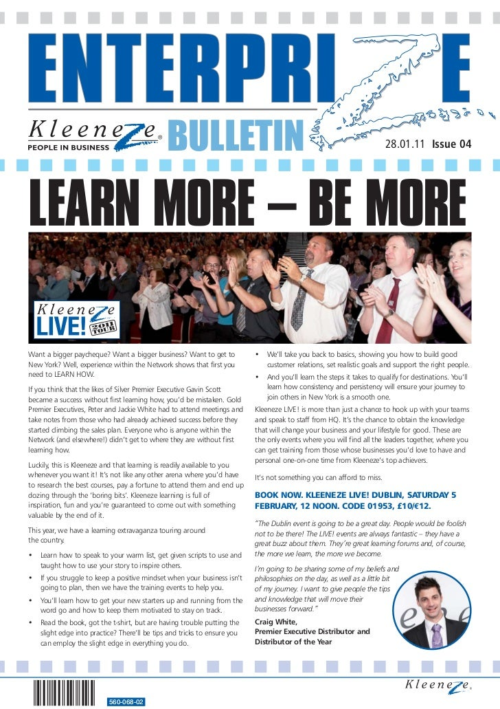 BULLETIN                                                                  28.01.11 Issue 04LEARN MORE – BE MOREWant a bigg...