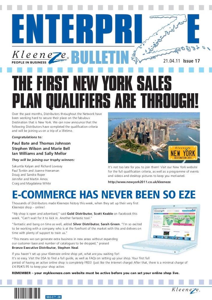 BULLETIN                                                             21.04.11 Issue 17THE FIRST NEW YORK SALESPLAN QUALIFI...