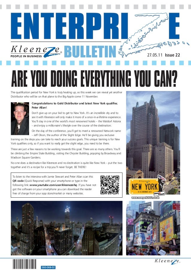 BULLETIN 560-068-02 27.05.11 Issue 22 The qualification period for New York is truly heating up, as this week we can revea...