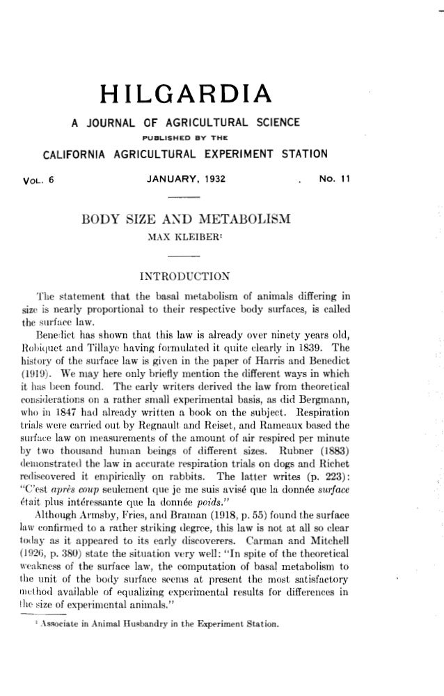 Body size and metabolism