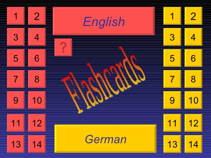 English German Flashcards 1 3 2 4 5 7 6 8 9 10 11 12 13 14 1 3 2 4 5 7 6 8 9 10 11 12 13 14