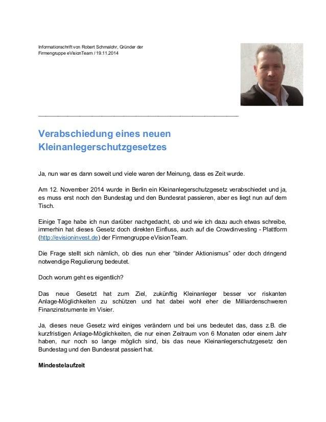 InformationschriftvonRobertSchmalohr,Gründerder FirmengruppeeVisionTeam/19.11.2014 __________________________...