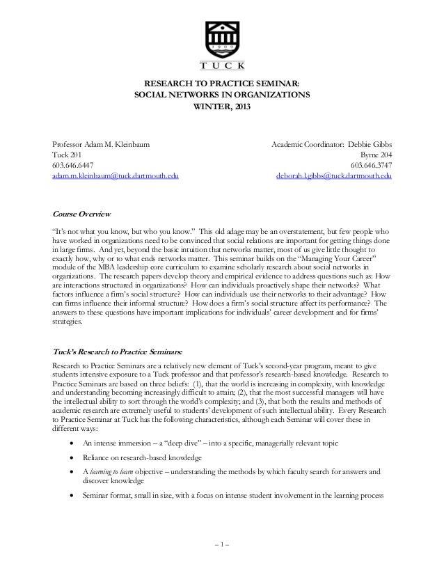Kleinbaum  social networks in organizations syllabus (tuck school 2013)