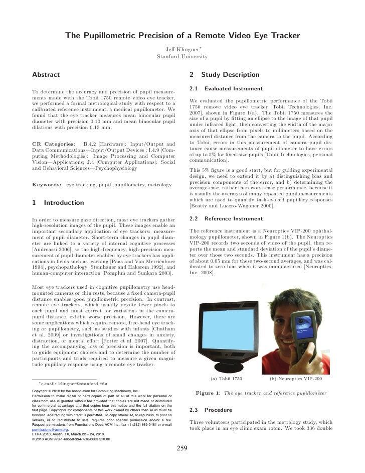 The Pupillometric Precision of a Remote Video Eye Tracker                                                                 ...