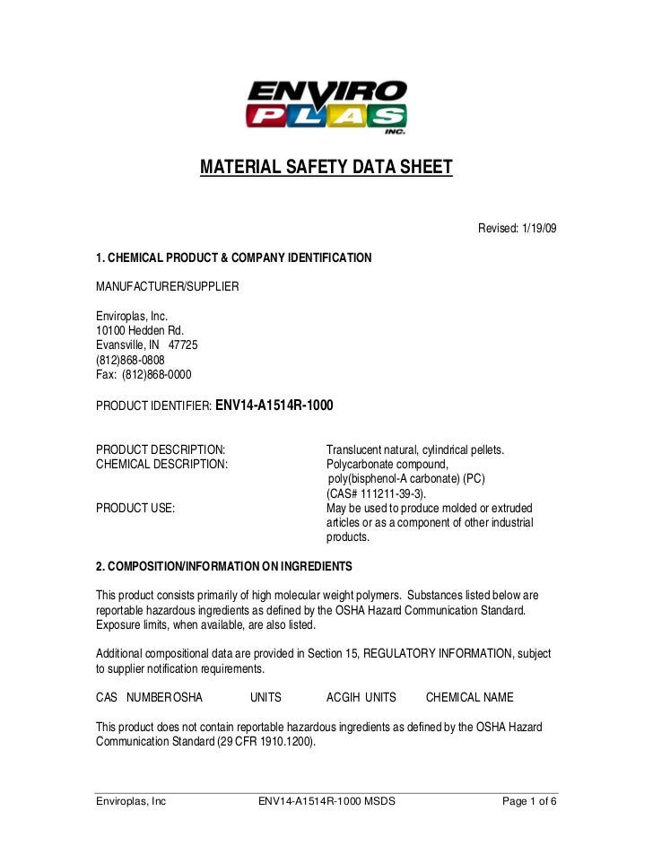 MATERIAL SAFETY DATA SHEET                                                                                 Revised: 1/19/0...