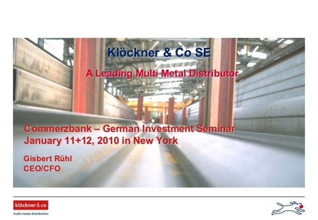 Klöckner & Co - German Investment Seminar 2010