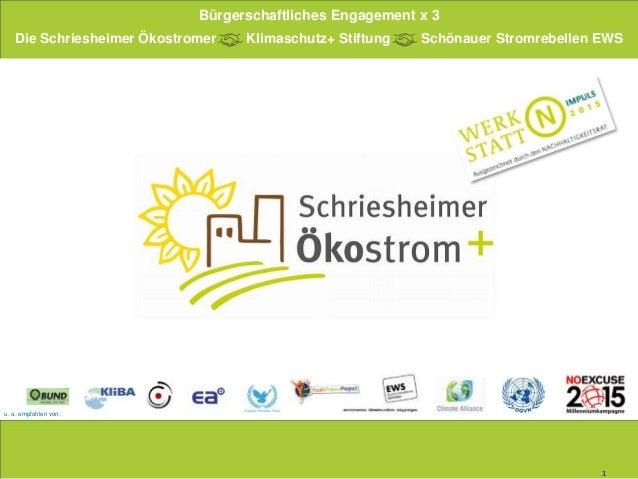 1 u. a. empfohlen von: Die Schriesheimer Ökostromer Klimaschutz+ Stiftung Schönauer Stromrebellen EWS Bürgerschaftliches E...