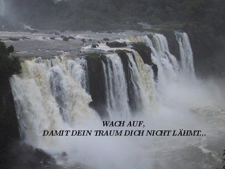 WACH AUF,  DAMIT DEIN TRAUM DICH NICHT LÄHMT...