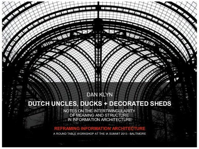 DAN KLYNDUTCH UNCLES, DUCKS + DECORATED SHEDS           NOTES ON THE INTERTWINGULARITY              OF MEANING AND STRUCTU...