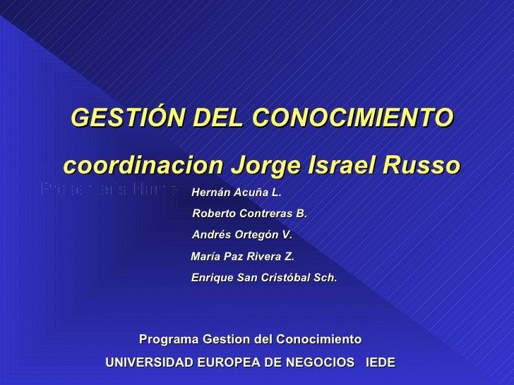 Presenter's Name Programa Gestion del Conocimiento UNIVERSIDAD EUROPEA DE NEGOCIOS  IEDE GESTIÓN DEL CONOCIMIENTO coordina...