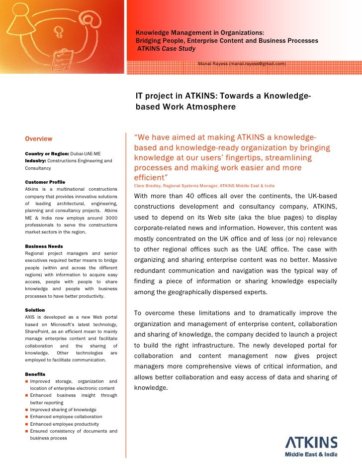Knowledge Management in Organizations: Case Study