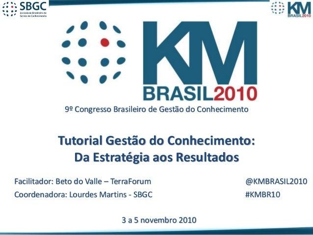 Beto do Valle - Tutorial de Gestão do Conhecimento 9º Congresso Brasileiro de Gestão do Conhecimento Tutorial Gestão do Co...