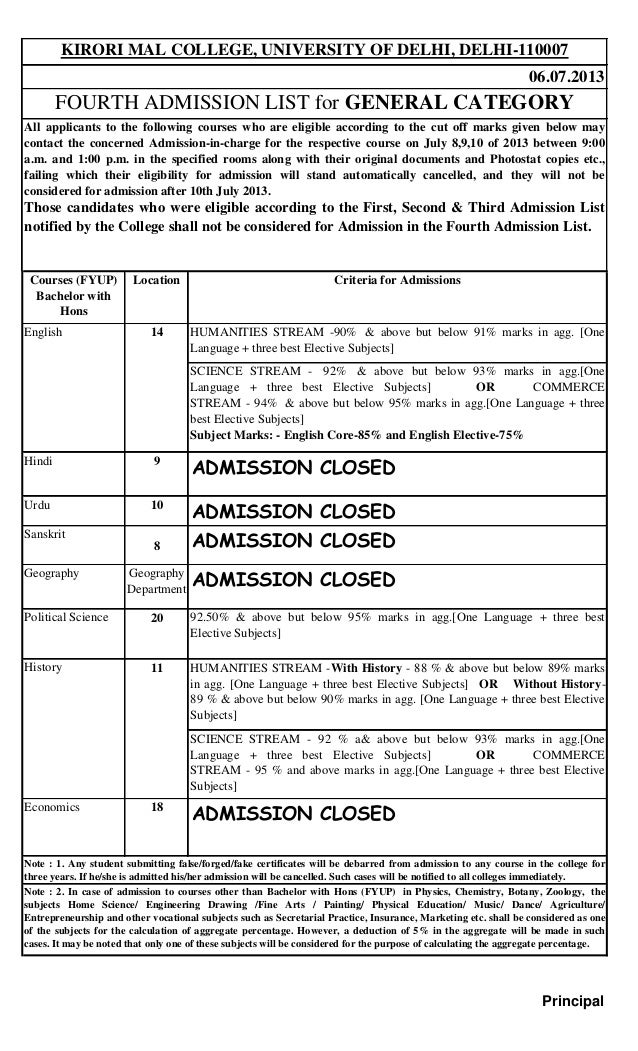 Courses (FYUP) Bachelor with Hons Location Criteria for Admissions HUMANITIES STREAM -90% & above but below 91% marks in a...