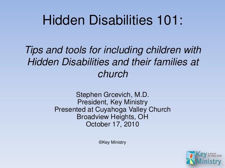Hidden Disabilities 101