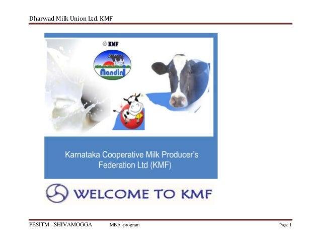 Dharwad Milk Union Ltd. KMF  PESITM –SHIVAMOGGA  MBA -program  Page 1
