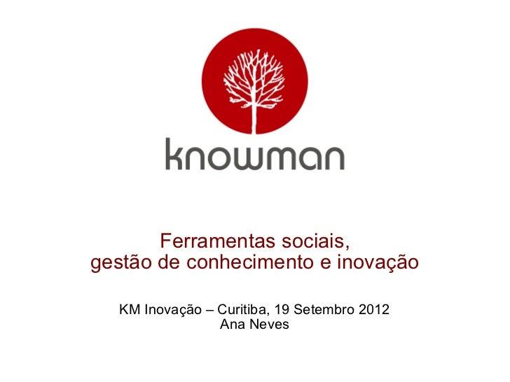 Ferramentas sociais,gestão de conhecimento e inovação  KM Inovação – Curitiba, 19 Setembro 2012                Ana Neves