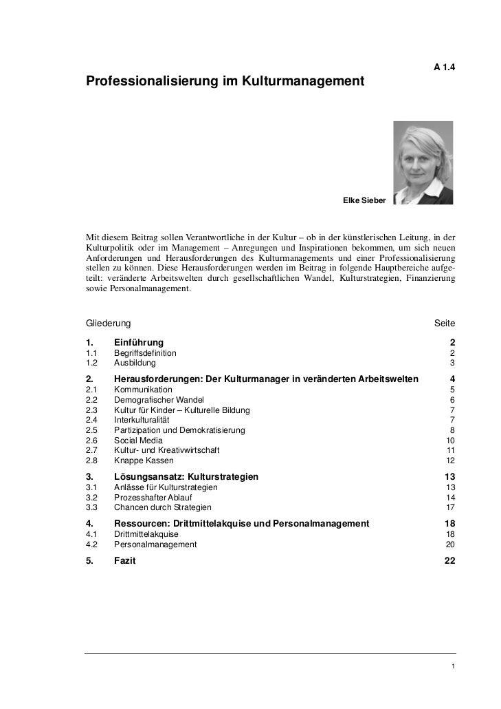A 1.4Professionalisierung im Kulturmanagement                                                                    Elke Sieb...