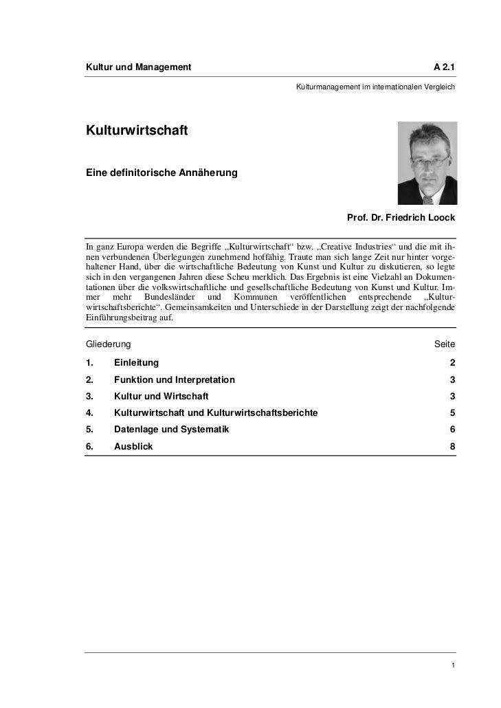 Prof. Dr. Friedrich Loock: Kulturwirtschaft. Eine definitorische Annäherung