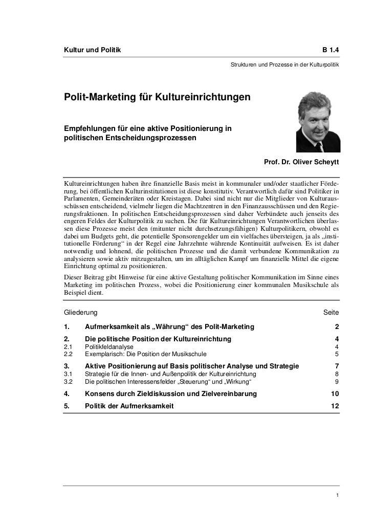 Kultur und Politik                                                                                  B 1.4                 ...
