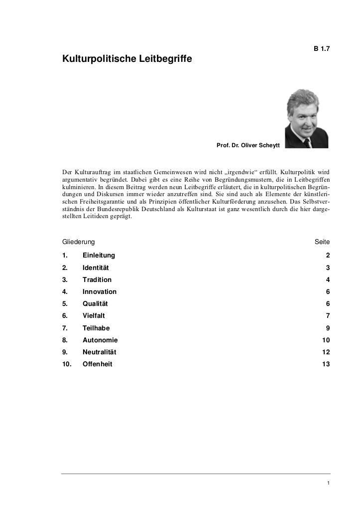 B 1.7Kulturpolitische Leitbegriffe                                                         Prof. Dr. Oliver ScheyttDer Kul...