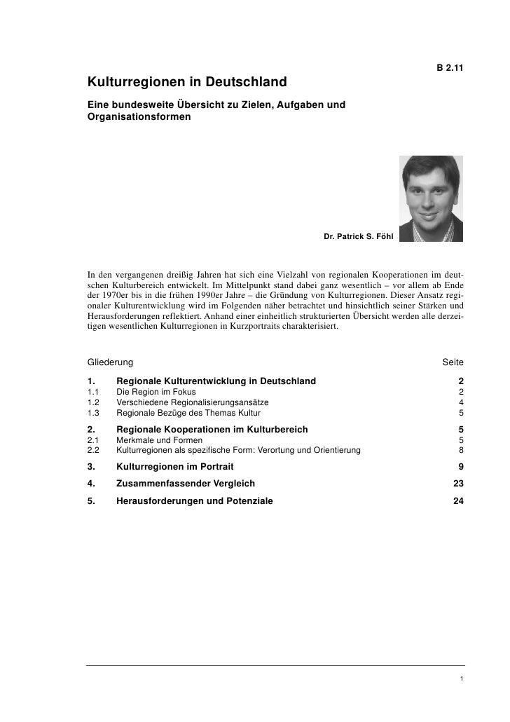 Dr. Patrick S. Föhl: Kulturregionen in Deutschland