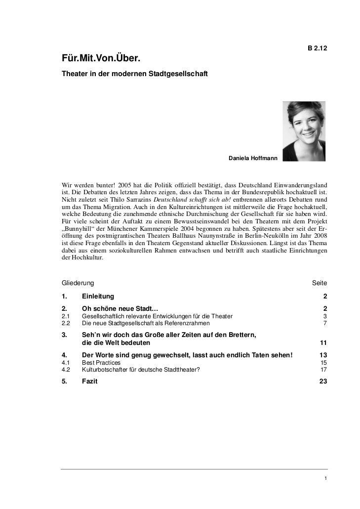 Daniela Hoffmann: Theater in der modernen Stadtgesellschaft