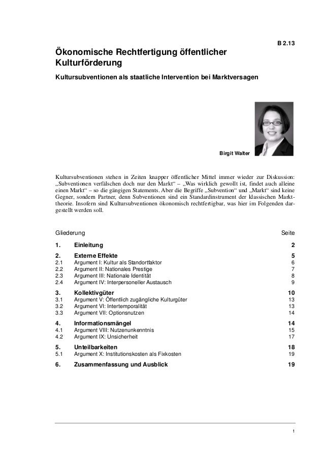 Birgit Walter: Ökonomische Rechtfertigung öffentlicher Kulturförderung