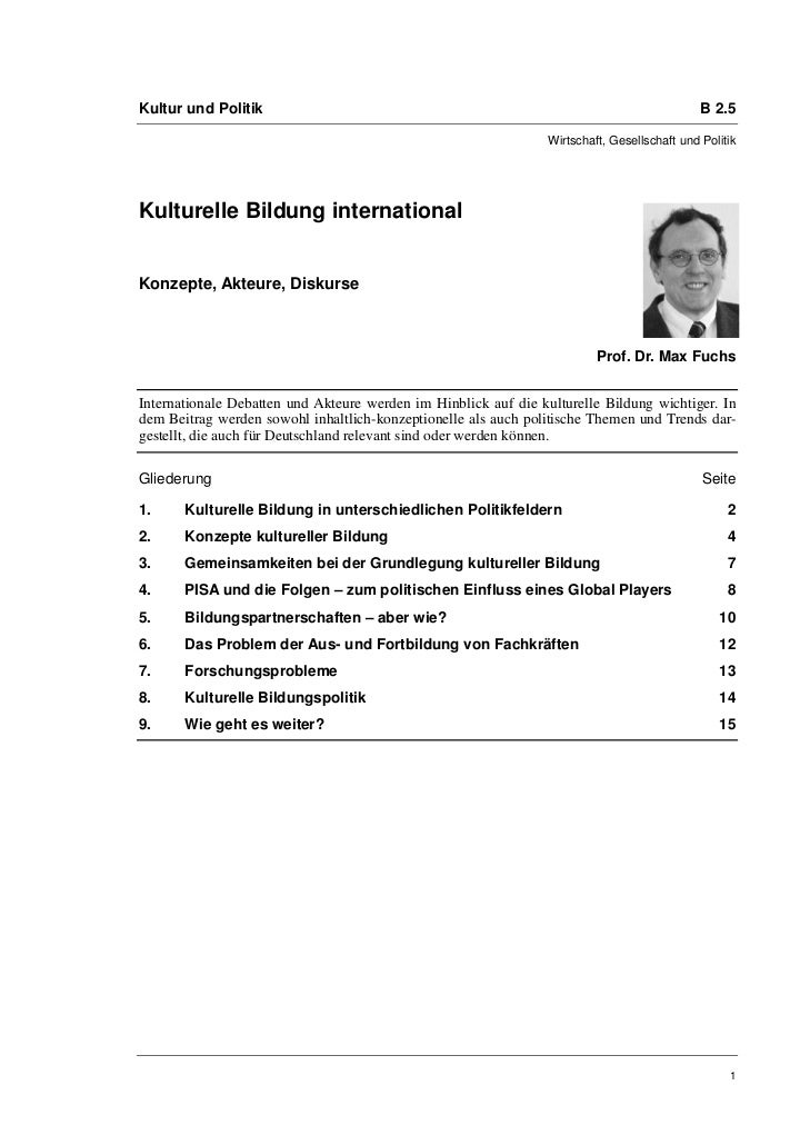 Kultur und Politik                                                                            B 2.5                       ...