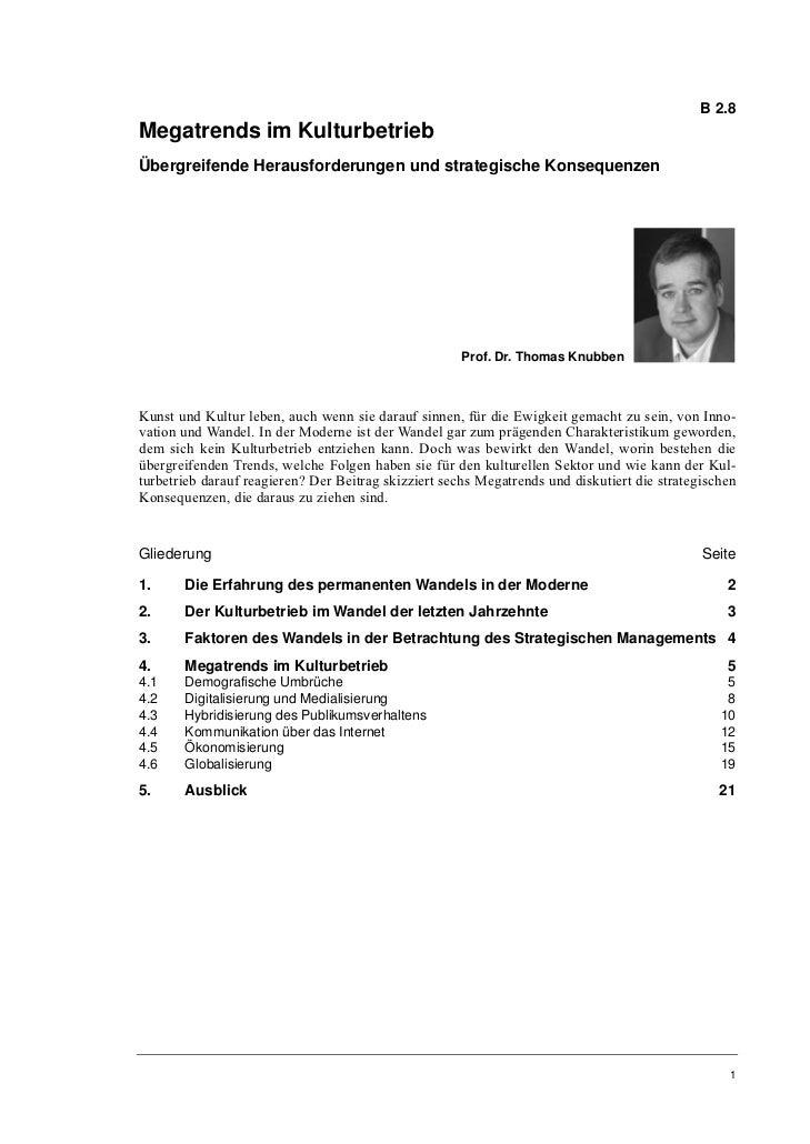 B 2.8Megatrends im KulturbetriebÜbergreifende Herausforderungen und strategische Konsequenzen                             ...
