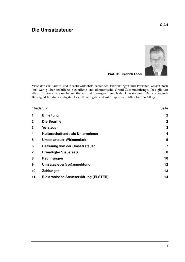 C 2.4Die Umsatzsteuer                                                    Prof. Dr. Friedrich LoockViele der zur Kultur- un...
