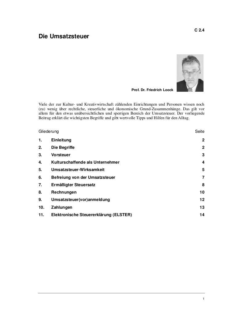 Prof. Dr. Friedrich Loock: Die Umsatzsteuer