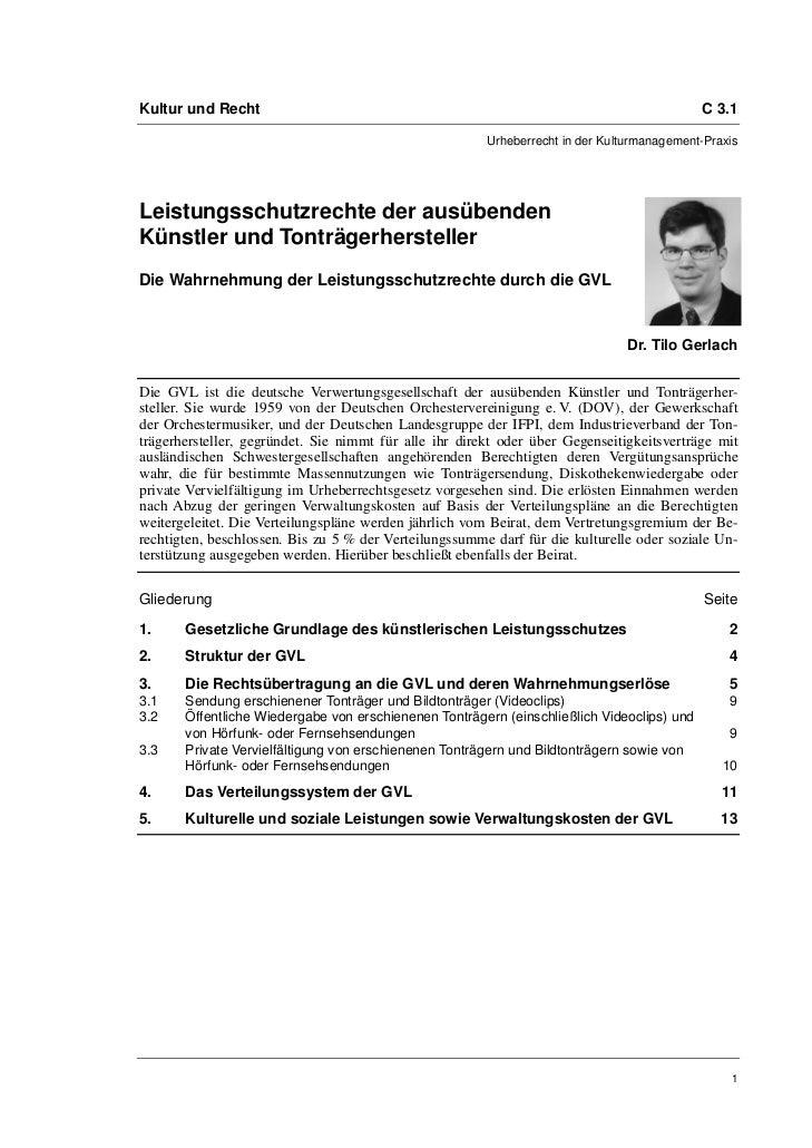 Dr. Tilo Gerlach: Leistungsschutzrechte der ausübenden Künstler und Tonträgerhersteller