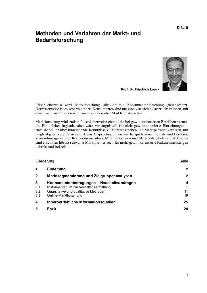 Prof. Dr. Friedrich Loock: Methoden und Verfahren der Markt- und Bedarfsforschung