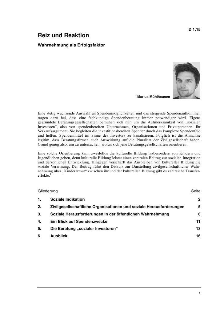 Marius Mühlhausen: Reiz und Reaktion. Wahrnehmung als Erfolgsfaktor