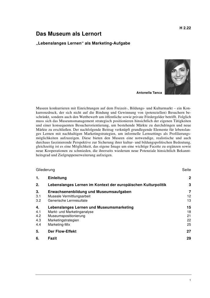 """H 2.22Das Museum als Lernort""""Lebenslanges Lernen"""" als Marketing-Aufgabe                                                   ..."""