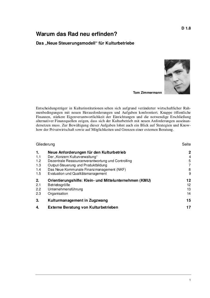 """D 1.8Warum das Rad neu erfinden?Das """"Neue Steuerungsmodell"""" für Kulturbetriebe                                            ..."""