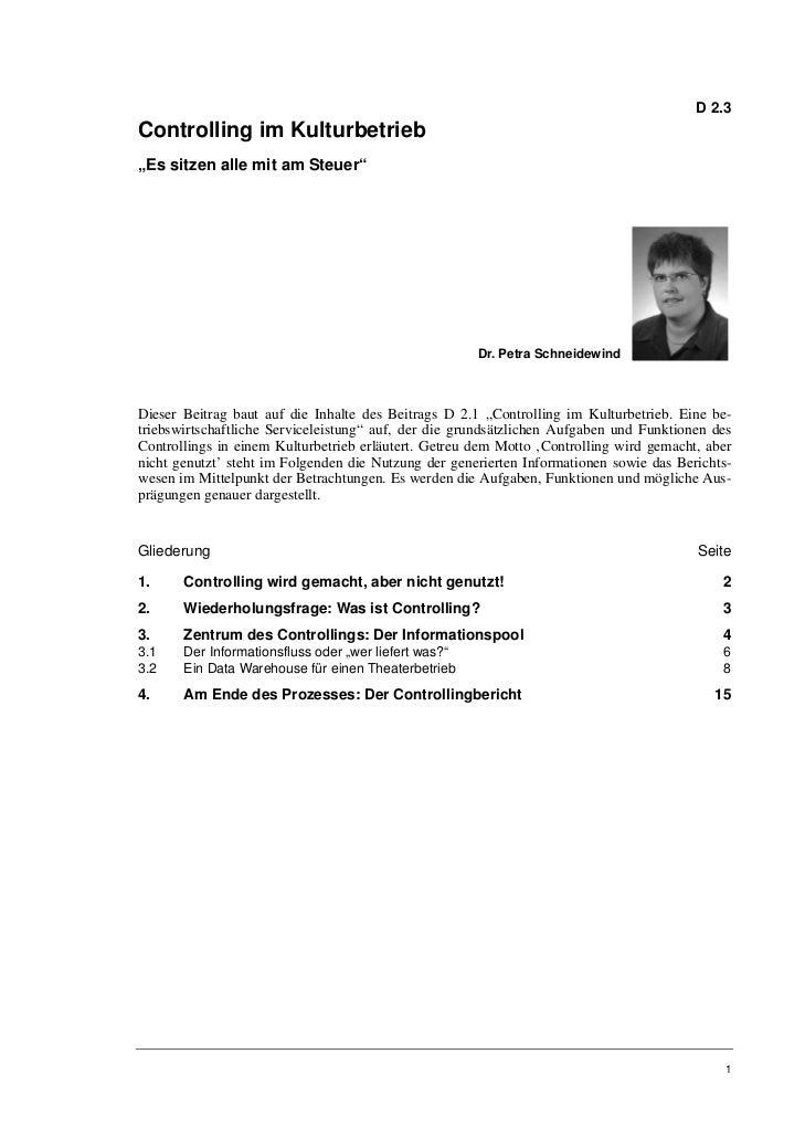 Dr. Petra Schneidewind: Controlling im Kulturbetrieb II