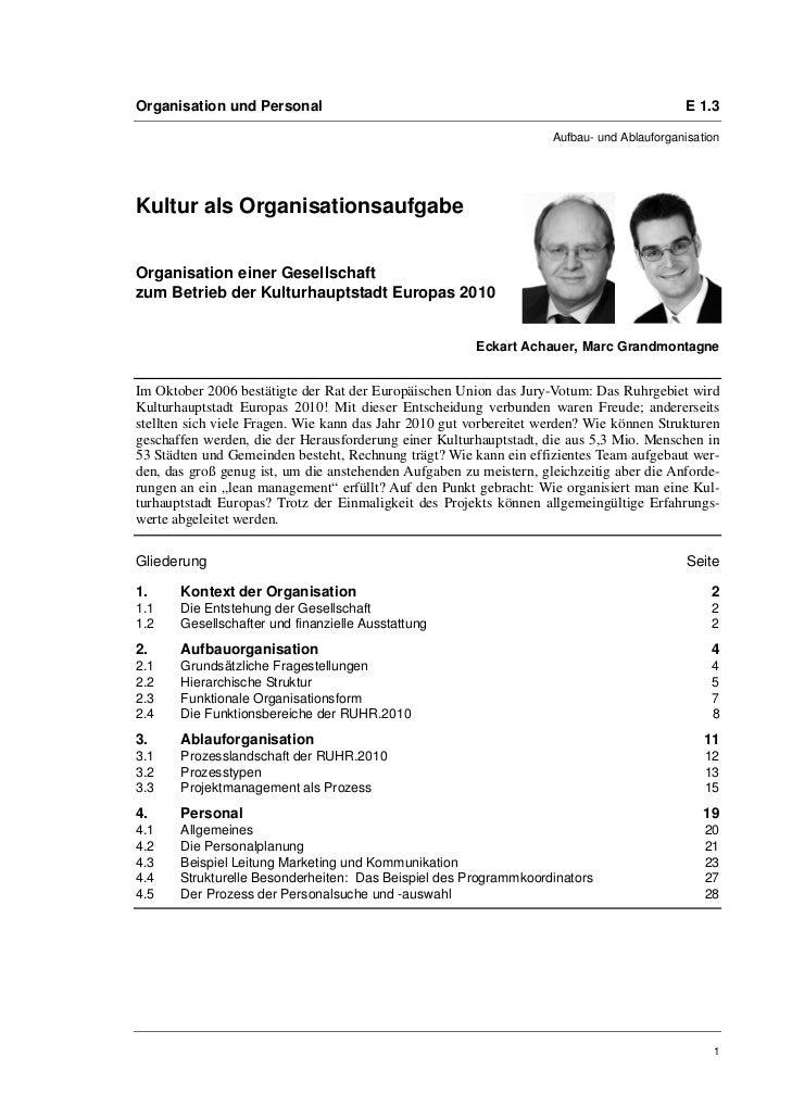 Organisation und Personal                                                                  E 1.3                          ...